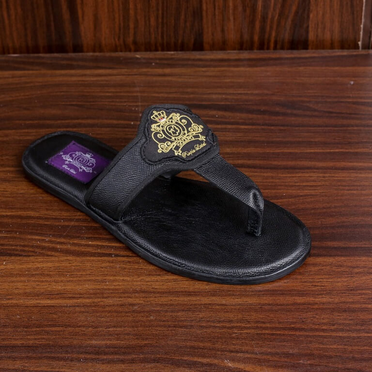 f981343e32564 Black Thong slippers with embroidery logo – T.T.DALK